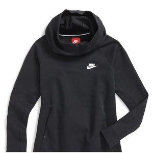 Nike Tech Black Funnel Neck Hoodie Sweatshirt